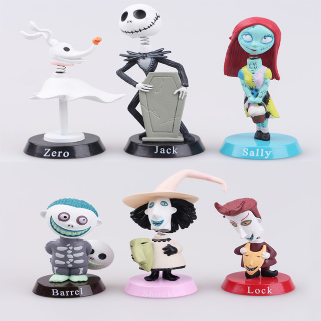 6pcslot cosplay nightmare before christmas figure lock sally zero barrel shock jack pvc action - Barrel Nightmare Before Christmas