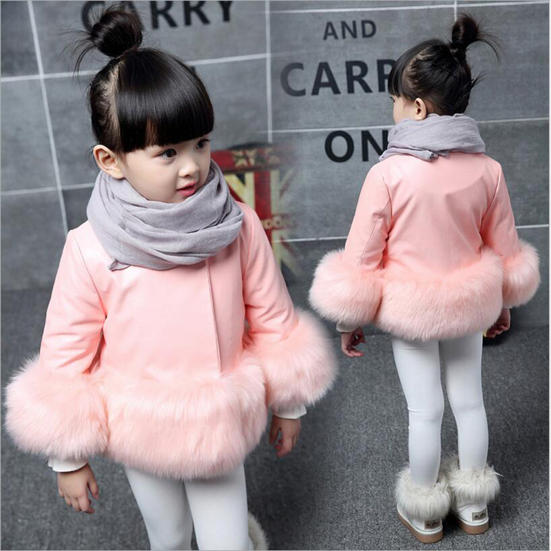 New Baby Christmas Costumes for Girls Kids Leather Fur Jacket Coat Children Winter Overalls Jacket for Girls Baby Girl Clothes