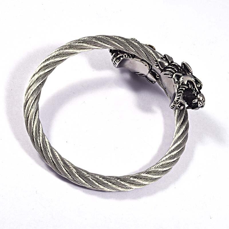 Mode Punk Crâne Bracelets Twisted Argent Noir En Acier Inoxydable Câble Fils Dragon Fermoir Manchette Bracelets Bijoux Pour Hommes