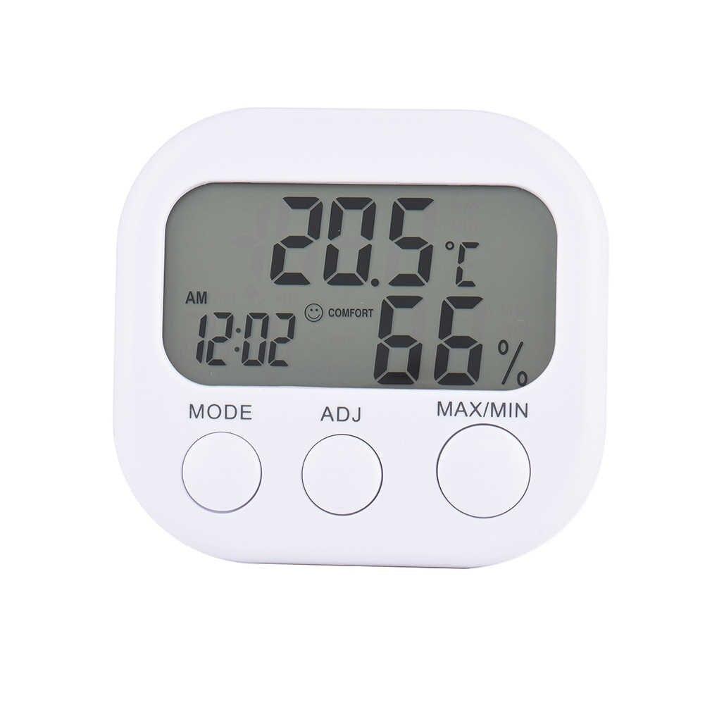 LCD thermomètre numérique hygromètre température humidité compteur jauge avec horloge 2017 nouvelle Station météo