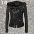Black genuine leather jackets 100% sheepskin motorcycle jacket off-center zip placket veste en cuir femme jaqueta de couro LT954