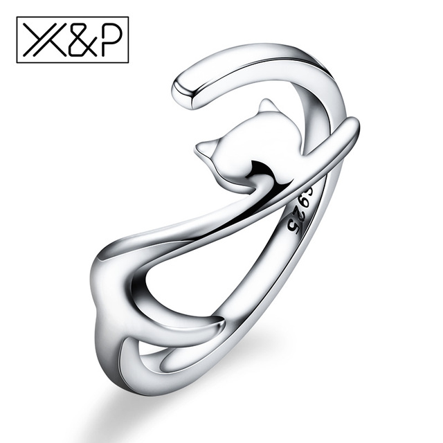 X&P Fashion Charm 100% 925 Sterling Silver Sticky Long Tail Cat Finger Rings for