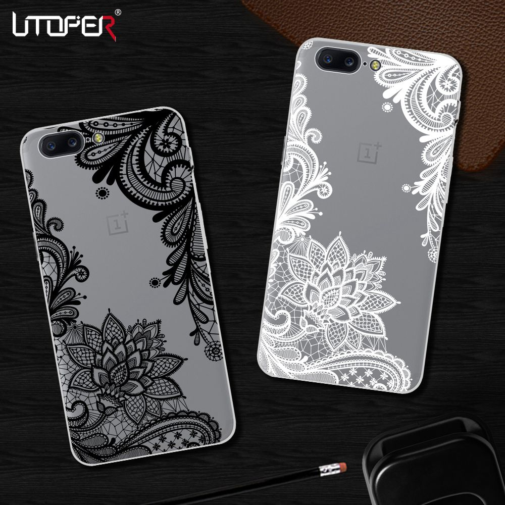 UTOPER Mandala Flower Case For One Plus 5T Case Transparent Cover For OnePlus 5 Case For One Plus 5 T Coque For OnePlus 5T A5010