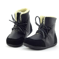 Size EU 22 33 2016 New Children Boots Boys Leather Child Winter Shoes Warm Plush Lace