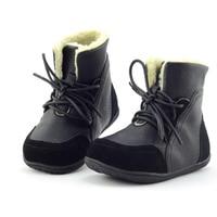 Size EU 22 33 2016 New Children Boots Boys Leather Child Winter Shoes Warm Plush Lace