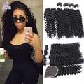7A Malaysian Deep Wave Human Hair With Closure Malaysian Kinky Curly Virgin Hair with Closure Ali Moda 3 Bundles with Closure
