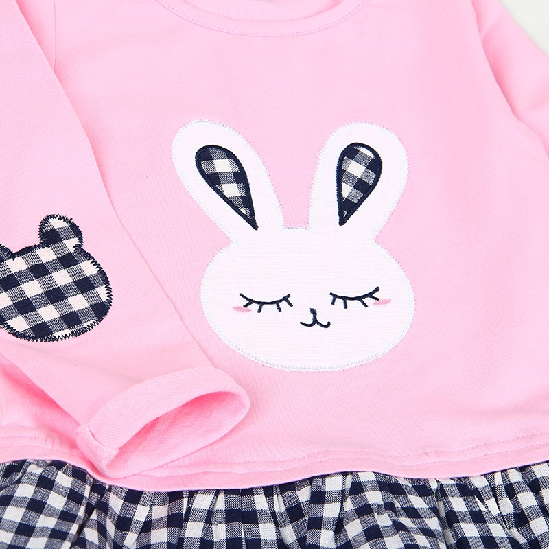 Bear Leader Girls Dress 2017 Spring Casual Style Baby Girl Clothes Long Sleeve Cartoon Bunny Print Plaid Dress for Kids Clothes 28