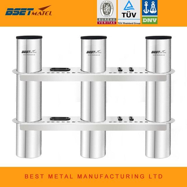 3 Tubes Link stainless steel 316 fishing boat rod holder fishing rod rack socket for marine