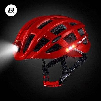 Rockbros Cycling Helmet Men Women Night Safety Light MTB Bicycle Helmet Ultralight Mountain Road Bike Helmet Capacete Ciclismo