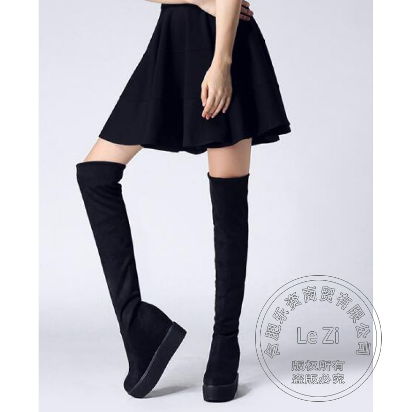 ФОТО Suede Internal Height Increase Pantshoes Elastic Pure Color Thigh High Women Riding Boots Platform Leather Stockings Casual
