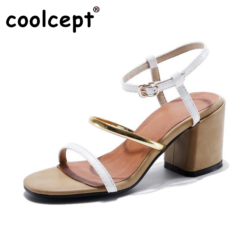 Coolcept Office Lady Genuine Real High Heel Sandals Summer Shoes Women Ankel Strap Beach Party Female Soft Footwear Size 34-39 female wedges slippers women platforms high wedeg sandals hallow out summer shoe beach vacation leisure heel footwear size 35 39
