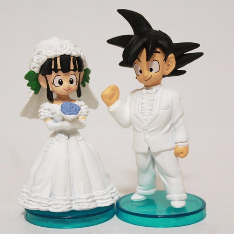 8cm Cute Anime DragonBall Z Goku and Chichi Wedding Ver