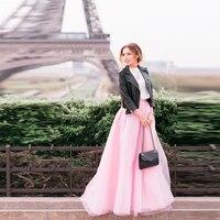 Dream Pairs Pink Skirt A Line Floor Length Tulle Skirt Custom Made Long Skirt Top Fashion Maxi Skirts Women 2016