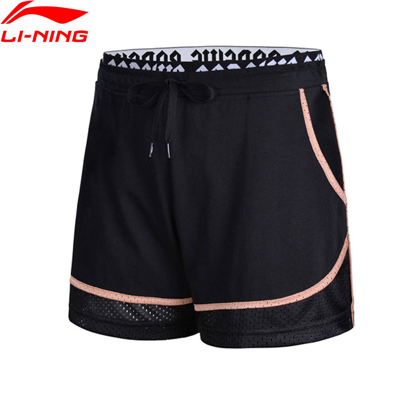 Li-Ning 2018 Women Basketball Culture Sweat Shorts 72%Cotton 28%Polyester Breathable Li Ning Comfortable Sports Shorts AKSN032