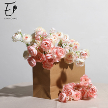 Erxiaobao Pink White Purple Red Camellia Japonica Artificial Flowers Silk Fake Flower Wall Bride wedding Bouquet Home Decoration