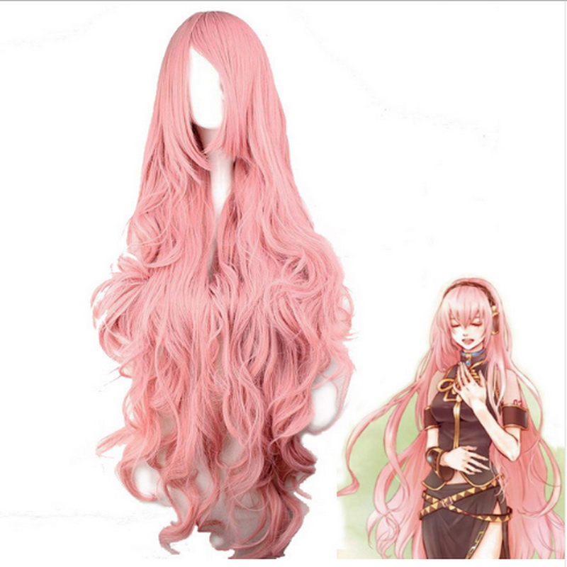 Vocaloid Megurine Luka Long Wavy Wig Cosplay Costume Women Heat Resistant Synthetic Hair Wigs For Party