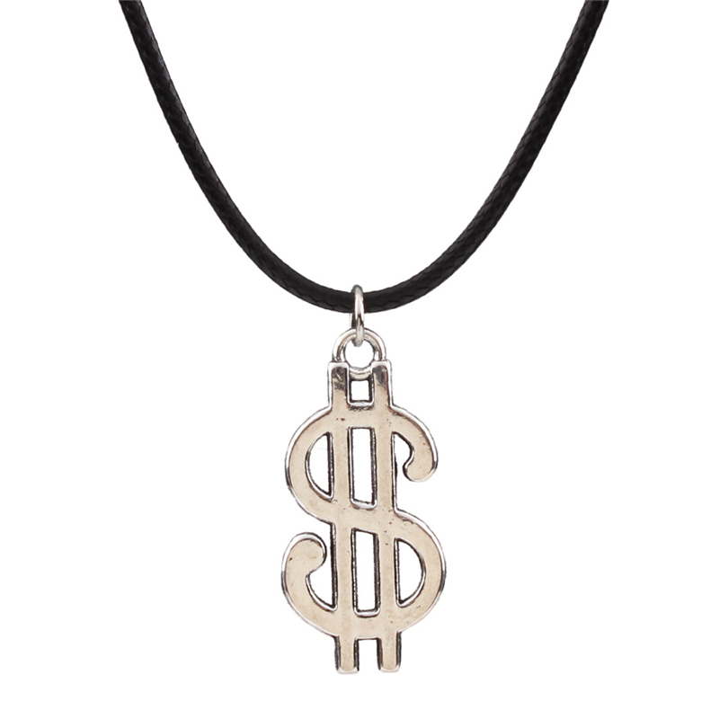 Men Jewelry Women Trendy summer Hot Cheap Small silver color Money Dollar sign $ Letter pendant necklace leather rope line art