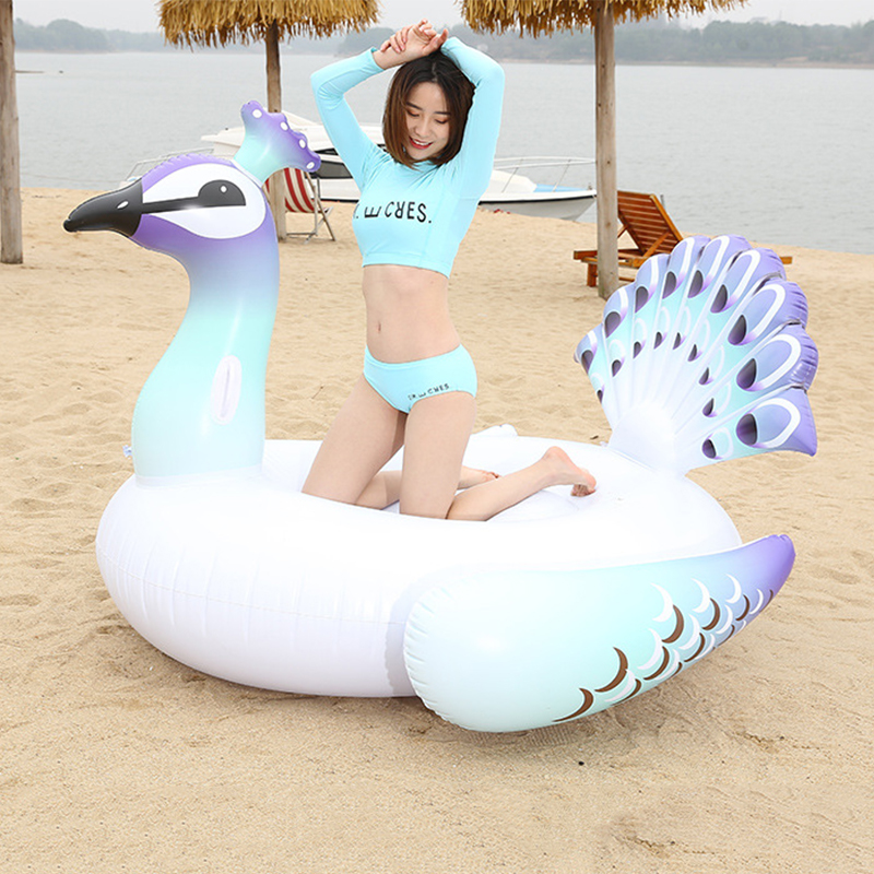 150cm Giant Pool Float Inflatable For Adult Peacock Air Mattress Cute Animal Floating Row Kids Swim Rings Water Sports Fun Toy giant pool float shells inflatable in water floating row pearl ball scallop aqua loungers floating air mattress donuts swim ring