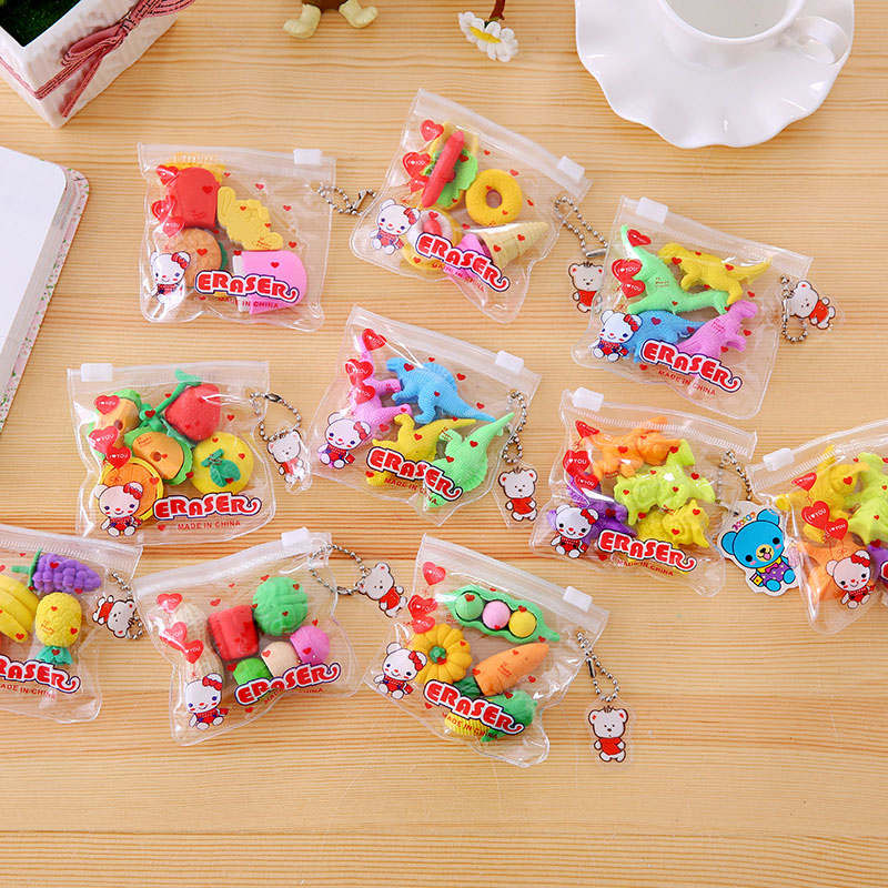 4pcs/pack Cute Kawaii Creative Animal Fruit Dessert Drawing Pencil Rubber Eraser Student School Stationery Kids Toys Prize Gift