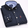 2017 New Fashion Brand Men Clothes Slim Fit Men Long Sleeve Shirt Men Polka Dot Casual Men Shirt Social Plus Size M-4XL