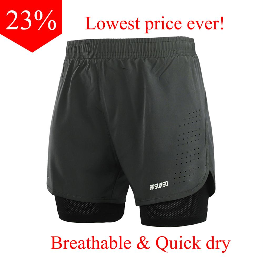 ARSUXEO Running Shorts Men 2 In 1 Sport Athletic Crossfit Shorts Fitness Gym Shorts Pants Workout Clothes Quick Dry B179