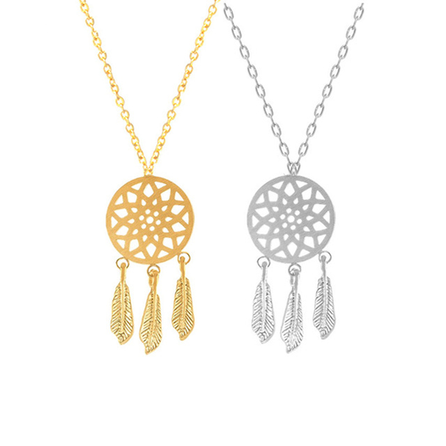 Retro Tassels Bohemian Feather Dream Catcher Necklace for Women Stainless Steel Dreamcatcher Mandala Yoga Boho Jewelry