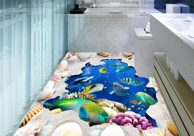 3d Fußboden Hai ~ D boden malerei benutzerdefinierte selbstklebende tapete hai d
