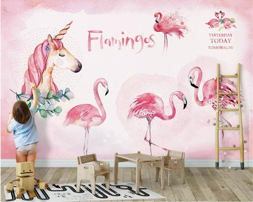 US $8 85 OFF Beibehang Custom Wallpaper 3D Cartoon Pink Flamingo Unicorn Wall Sticker TV Backdrop Wall Mural Wallpaper For Wall 3 D