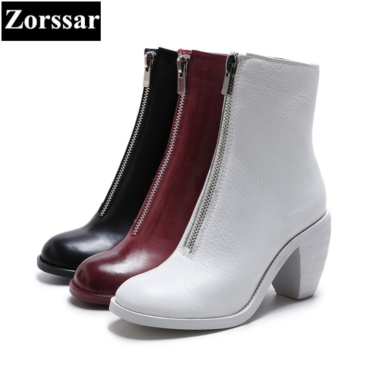 Schuhe chel Chelsea Runde Heels Herbst New Winter SchwarzRotWei Stiefel High 2018 Retro {zorssar} Kn Kappe Fashion Damen Style VSpqMzU