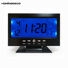 Homingdeco цифровой будильники ЖК-электронный настольные часы звук Управление умный будильник домашнего офиса путешествия настольные часы 2018
