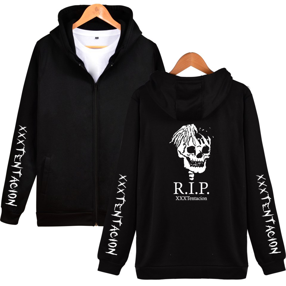 2018 Hip-hop Rapper Xxxtentacion Print Zip Hoodie Sweatshirt Regular Zip Spring-autumn Fashion Loose Hoodie Clothing Strengthening Waist And Sinews