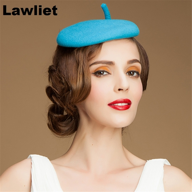 Circle Light Blue Womens 100% Wool Felt Tilt Top Fascinator Hat T097