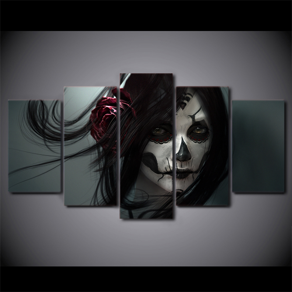 2017 JIE DO ART HD Print 5 piece canvas art Day of the Dead Face Painting art work for wall