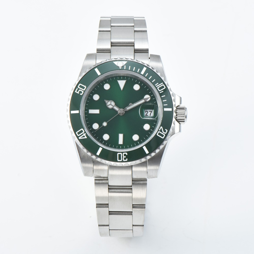 New Fashion Luxury Brand Watch Green Sterile Luminous Dial Sapphire Crystal Ceramic Bezel date Automatic Movement