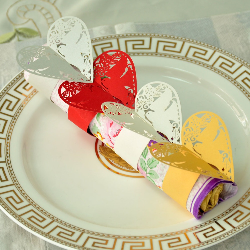 12PCS Four Colors for Your Chose Pigeons Laser Cut Paper Napkin Rings Holders Party Wedding Favors Table Decor Porta Guardanapo