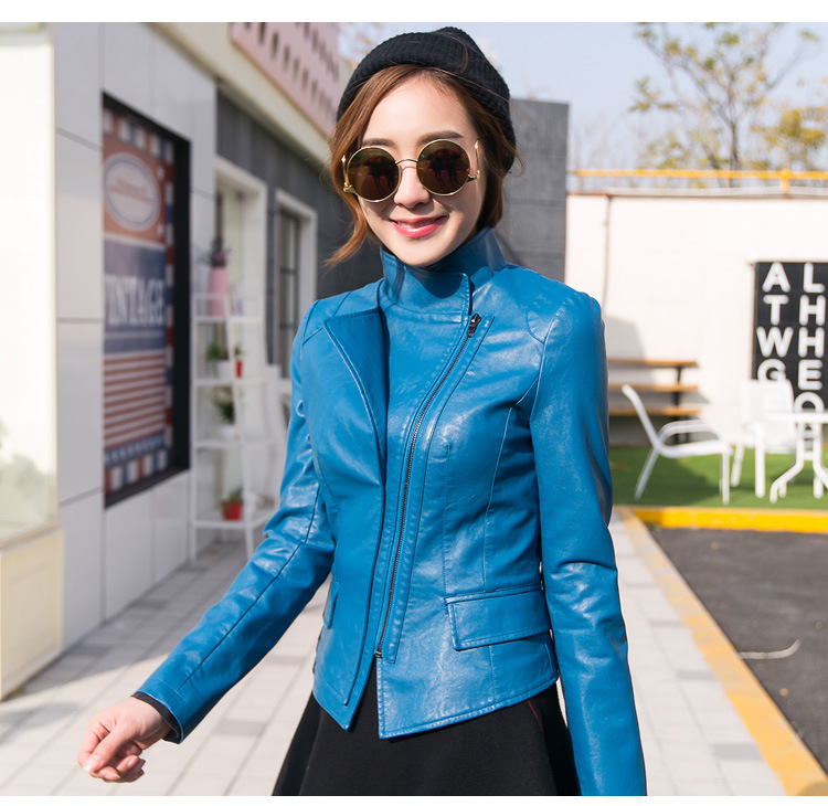 blue Nouveau Hiver Court Veste Édition Powder Pour Femmes Black Coréenne Vêtements rose Automne Code leather Style Locomotive Dame 2018 Réparation Grand Pu Corps xXwFpqH5gW