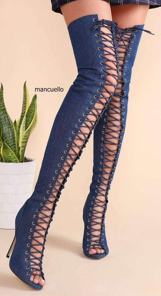 New Arrival Women Denim Dark Blue Lace Up Thigh High Sandal Booties Stylish Open Toe Stiletto Heel Booties Long BootsHot Selling new arrival stylish design women peep toe stiletto heel thigh high boots suede cross strap lace up open toe booties hot selling