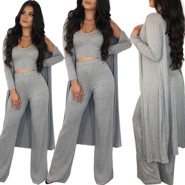 Elegant Cardigan Outwear Tracksuit  Wide Leg Fashion Two Piece Set