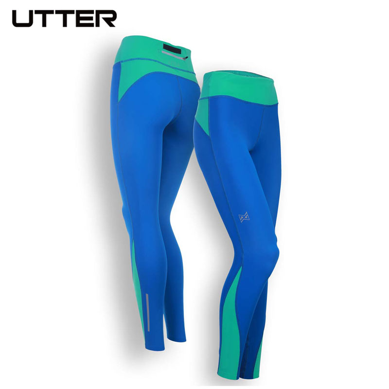 UTTER J14 Women Blue Yoga Leggings Running Compression Pants Fitness Sports Trousers for Women Gym Sportswear new arrival women sports yoga pants gym spandex running tights breathable sport fitness leggings plus size