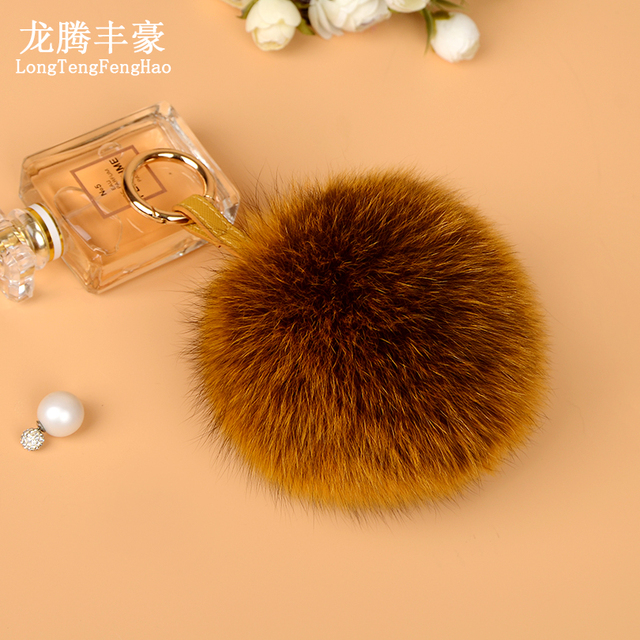 9ce8b040d1d 13cm Large Real Fluffy Leather Pompom Fox Fur Ball Key Chains Fur Pom Pom  Keychain For Car Women Bag Charm Pendent Accessories