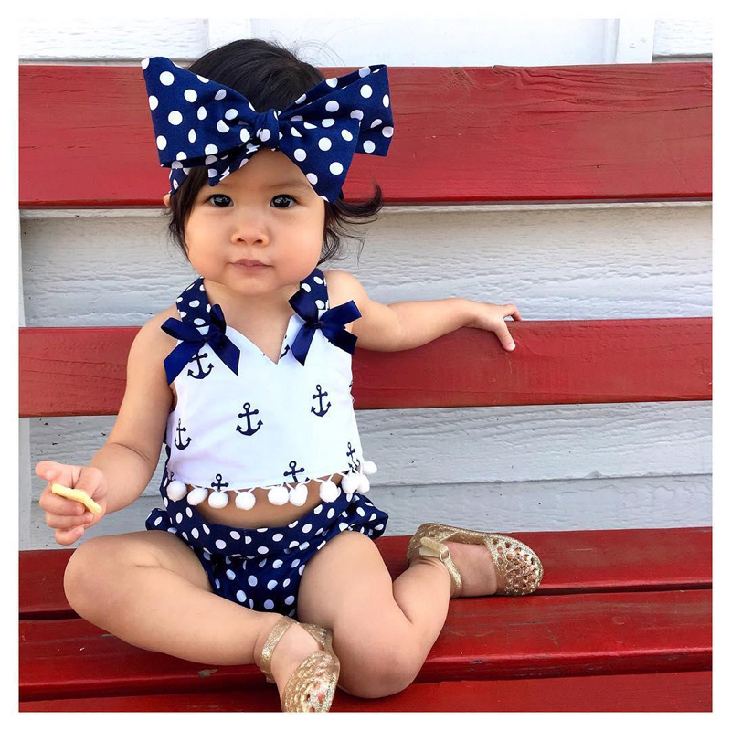 Emmababy Baby Clothes Set Cute Baby Girls 3 Pcs Sets Clothes Anchors Tops+Polka Dot Briefs+Head Band 3pcs Outfits Set