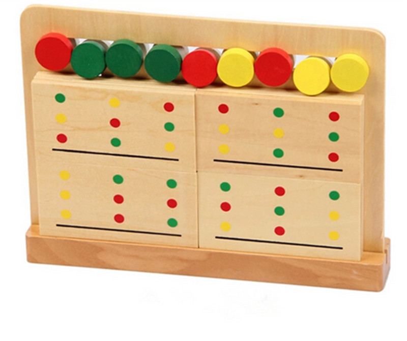 New Wooden Blocks Toy Baby Toy Montessori Teaching Three Color Sorting Array Game for Early Childhood Education Free Shipping