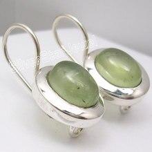 Silver PREHNITEs Nice Dangle Earrings 2.2CM