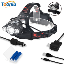 Head Lamp 3x T6 3 Lamps 4 Dimmable Mode Waterproof 6000 Lumens LED Headlamp Flashlight Car-charger Rechargeable Battery Headlamp