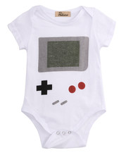 Hot 0-24M Newborn Infant Baby Boy Clothing Bodysuit Short Game keyboard Print Jumpsuit Outfits Clothes(China)
