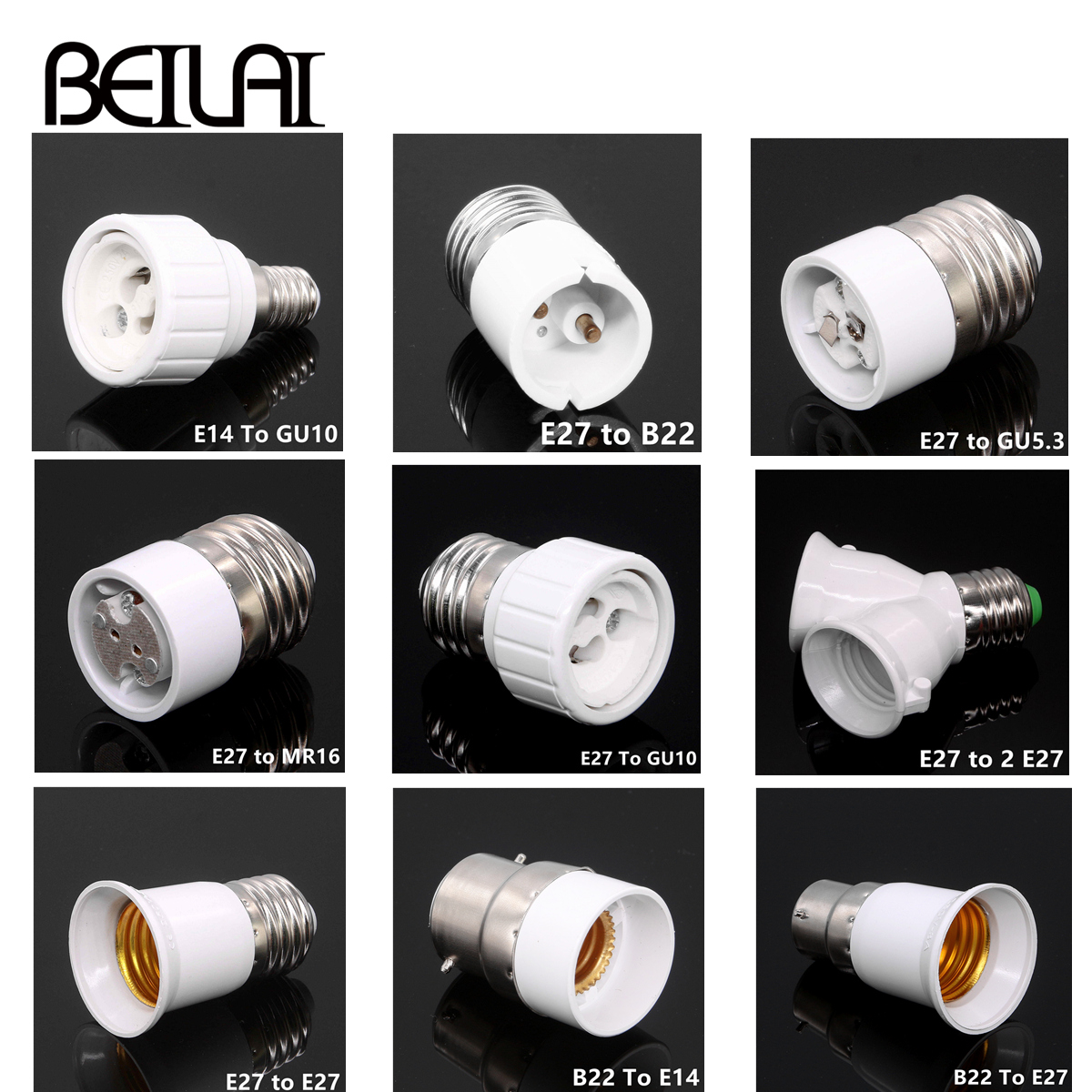 RGB LED Bulbs E14 TO E27 B22 GU10 Converter For LED Light Lamp Adapter Conversion Socket Material Fireproof Adapter Lamp Holder