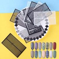 14 Sheets Ultra Thin Adhesive Nail Vinyls Fish Scale Plaid Net Line Hollow 3D Nail Stencil