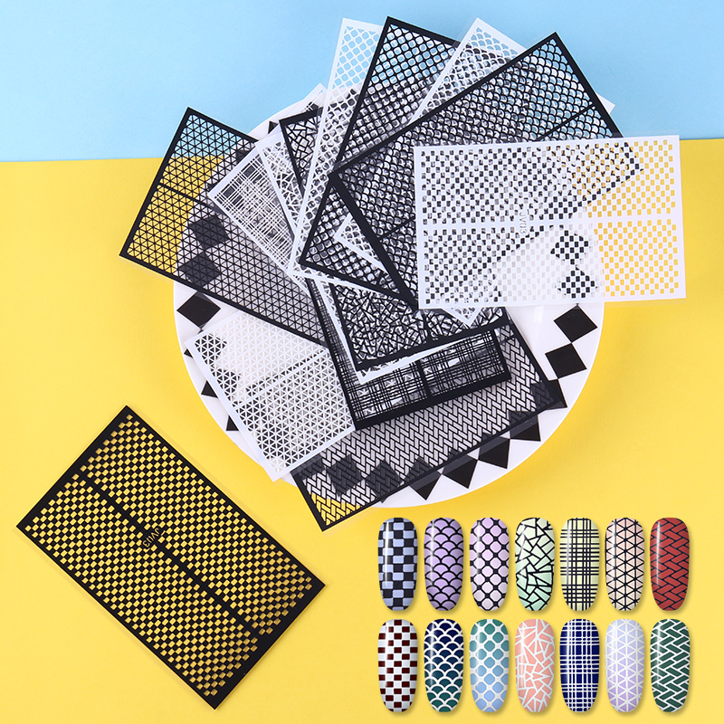 14 Sheets Ultra-thin Adhesive Nail Vinyls Fish Scale Plaid Net Line Hollow 3D Nail Stencil Sticker born pretty 6 sheets 3d adhesive holo nail sticker ultra thin laser line candy nail foil decal