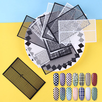 14 Sheets Ultra-thin Adhesive Nail Vinyls Fish Scale Plaid Net Line Hollow 3D Nail Stencil Sticker