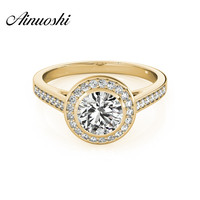 AINUOSHI Luxury 925 Sterling Silver Yellow Gold Color Rings Anillo nupcial 1 Carat Sona Round Cut Princess Anniversary Halo Ring